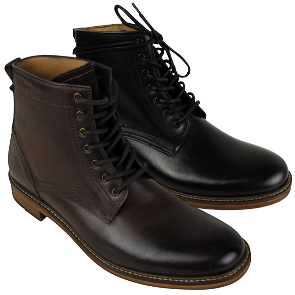 mens ben sherman leather qewy 2 boot lace up ankle boots