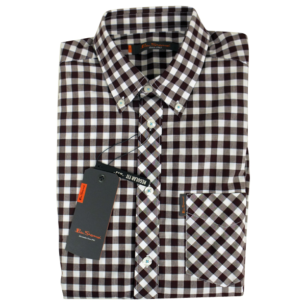 Mens Ben Sherman Mod Fit Gingham Check Classic Short Sleeve S/s ...