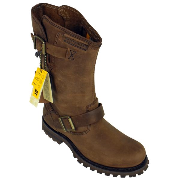 mens caterpillar cat leather 9 quot inch biker boot