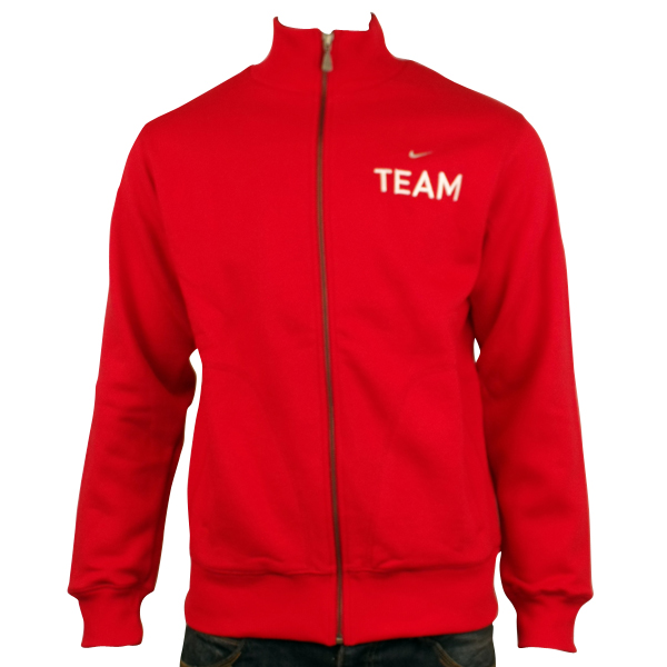 Mens Nike Cotton Fleece Red Team Track Suit Top Retro Sports ...