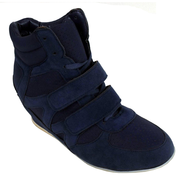 womens wedge trainer boot hi top blue trainers wedges