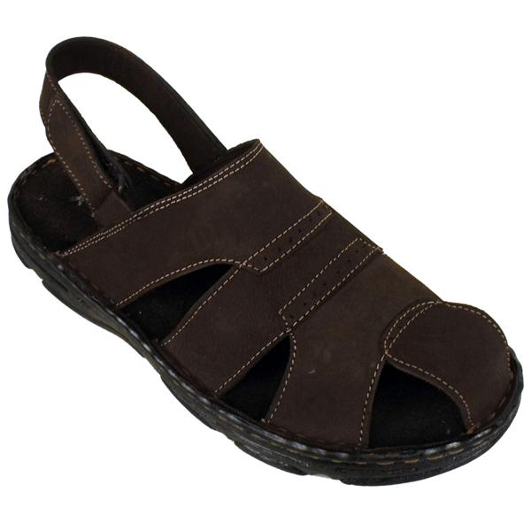 mens leather smart slip on velcro sandal mules