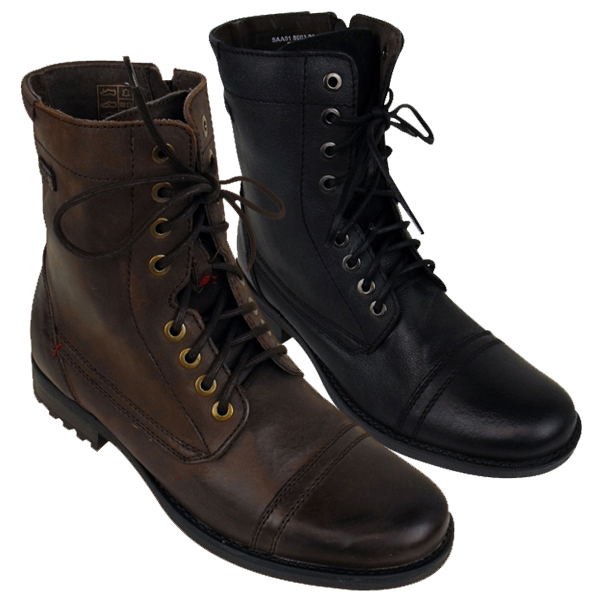 mens leather base army ankle boot leather