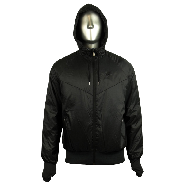 Black Windbreaker Jacket With Hood