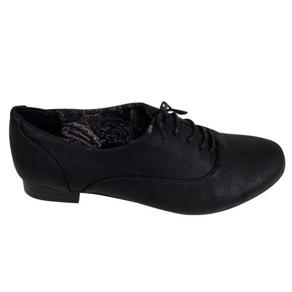 Black Faux Leather Work Office Shoes Womens Girls Lace Up School Shoe