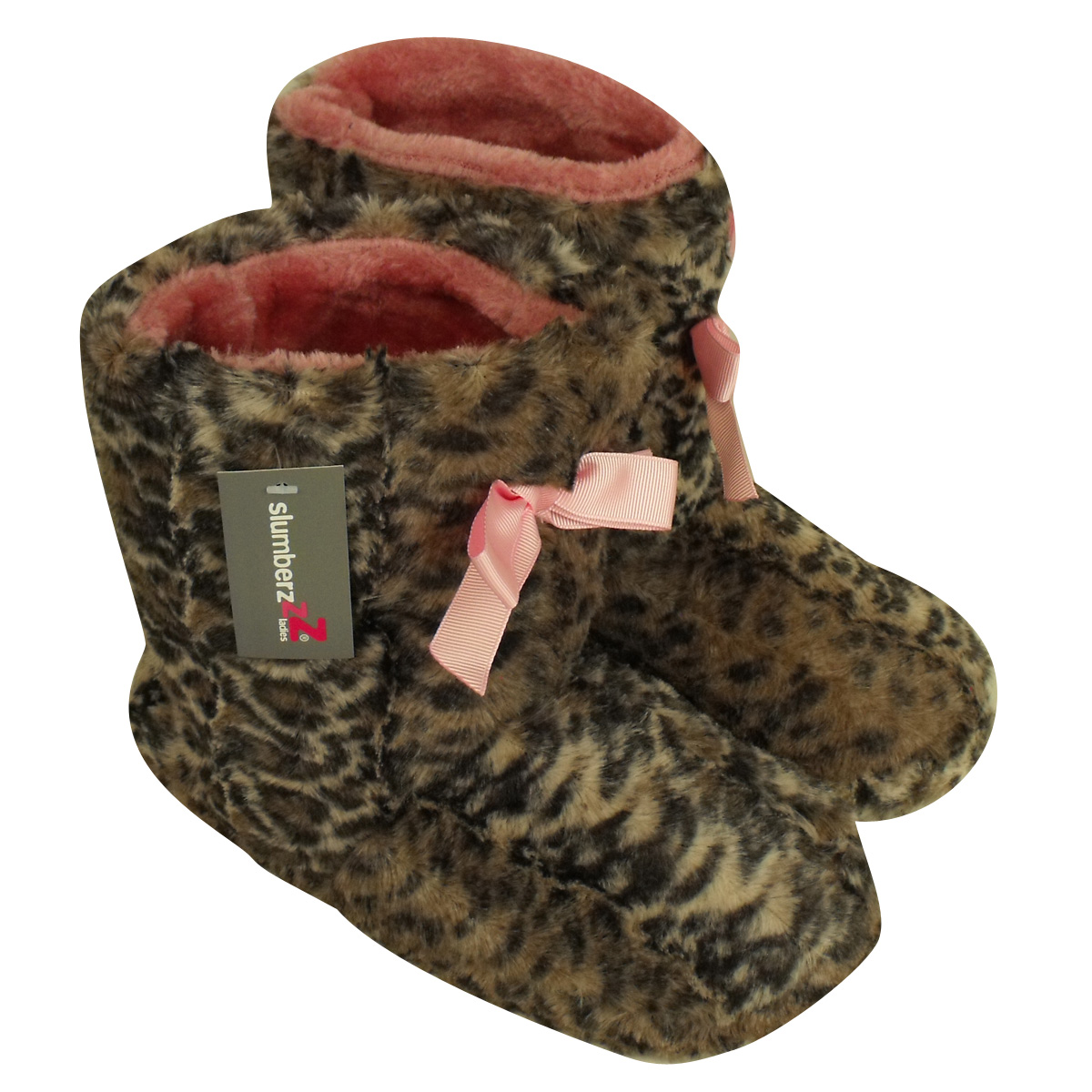 Furry Leopard Yetti Ankle Boot Slipper Ladies Eskimo Slippers ...