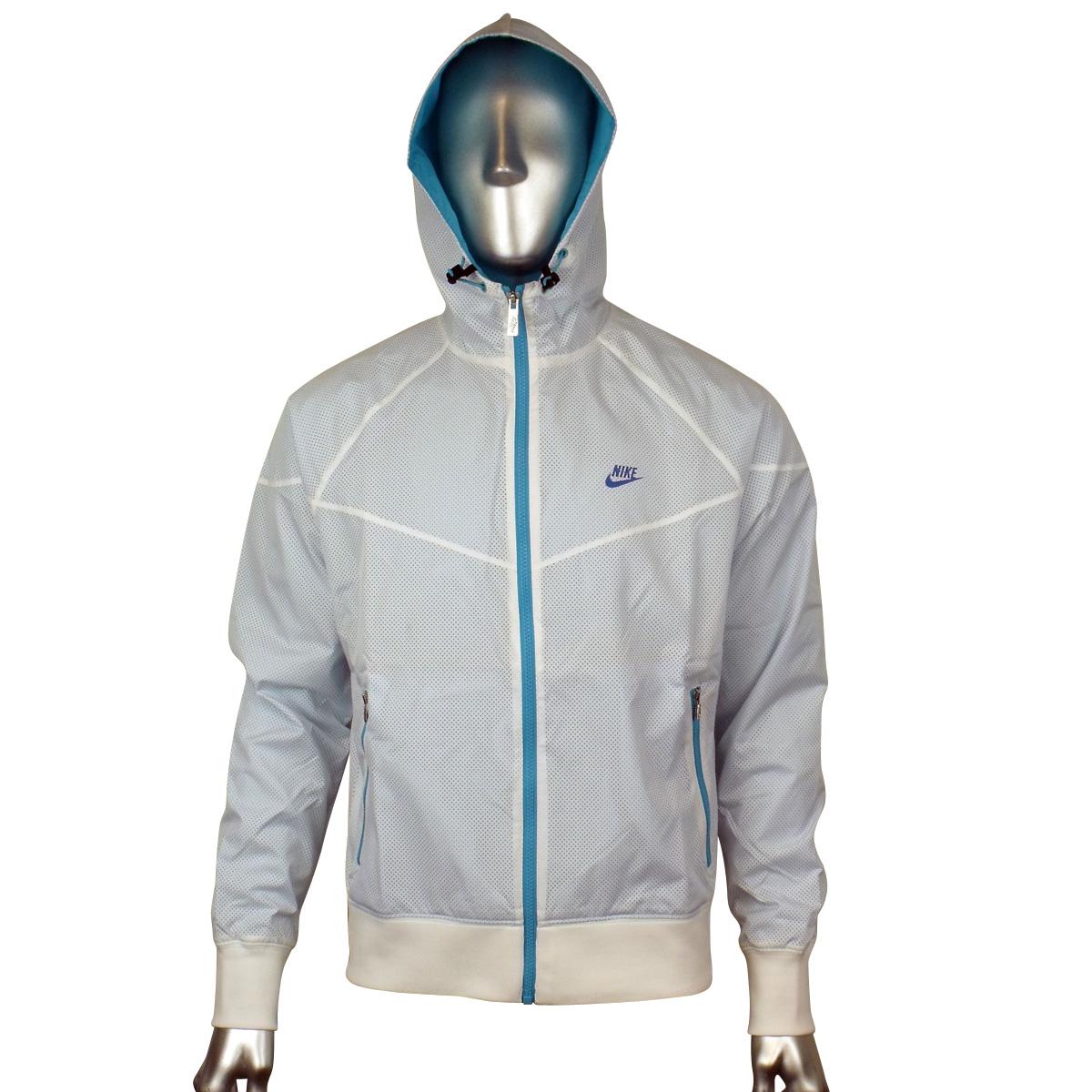 Mens Nike White Blue Retro Windrunner Windbreaker Hooded Running ...