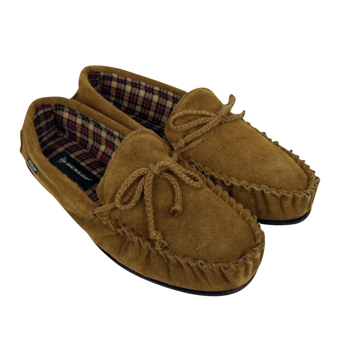 Product - Deluxe Comfort Mens Faux Suede Memory Foam Dress Slipper, Size - Warm And Stylish Tartan Plaid Fleece Lining - Durable Non-Marking Ruber Sole - Soft Faux Suede Outer - Mens Slippers, Camel Brown.