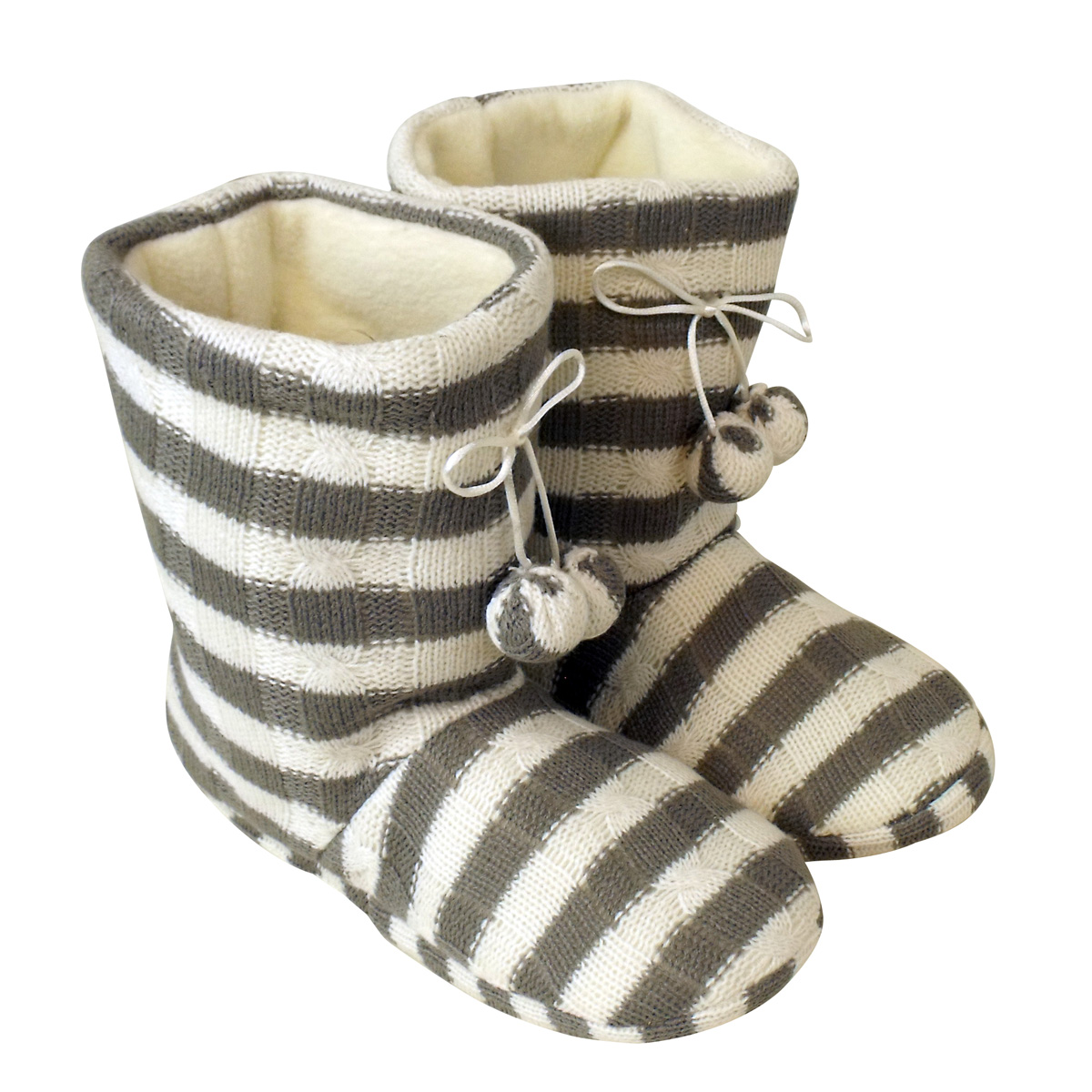 Womens Pom pom Ankle Boot Slipper Ladies White Grey Eskimo ...