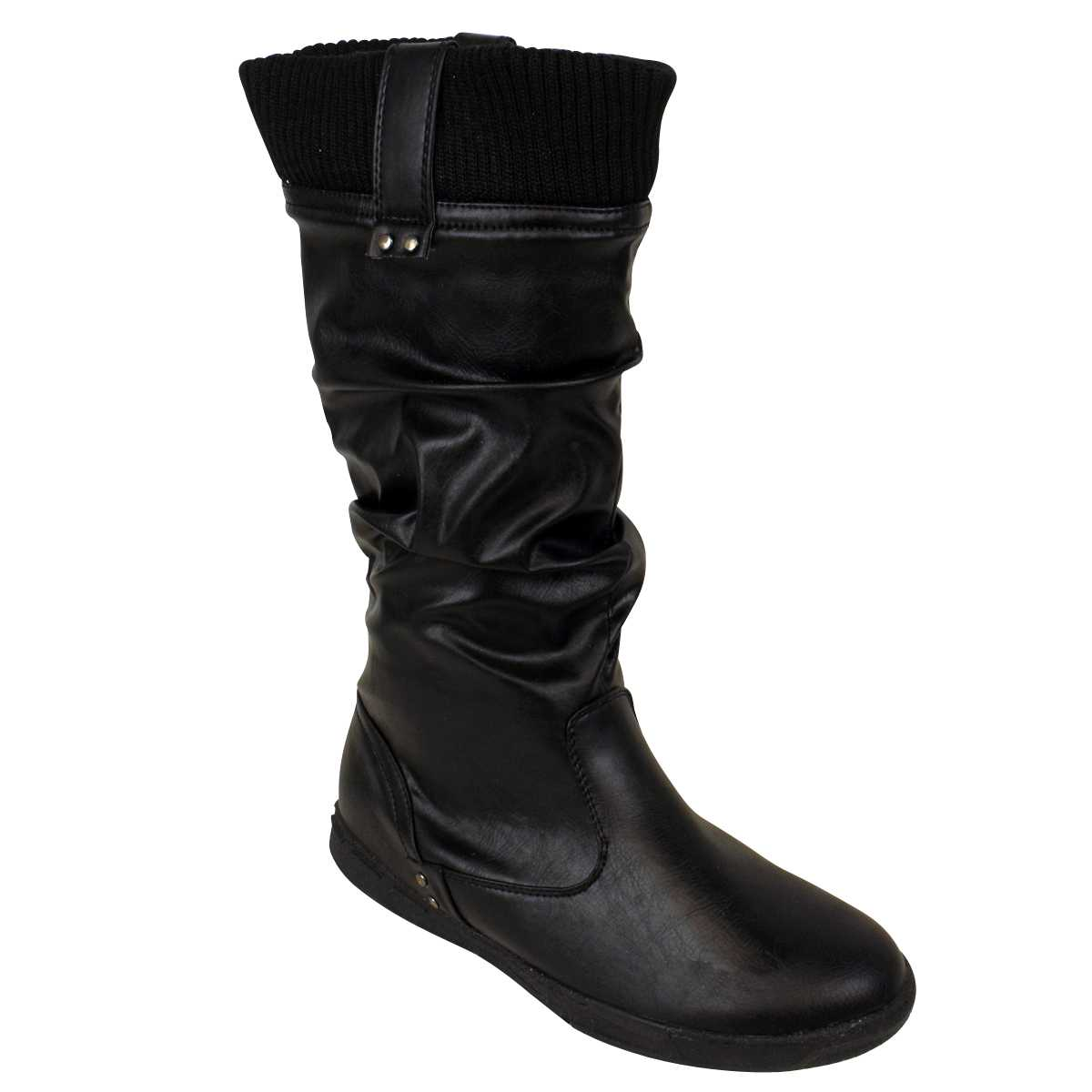 womens black faux leather knitted collar biker boots