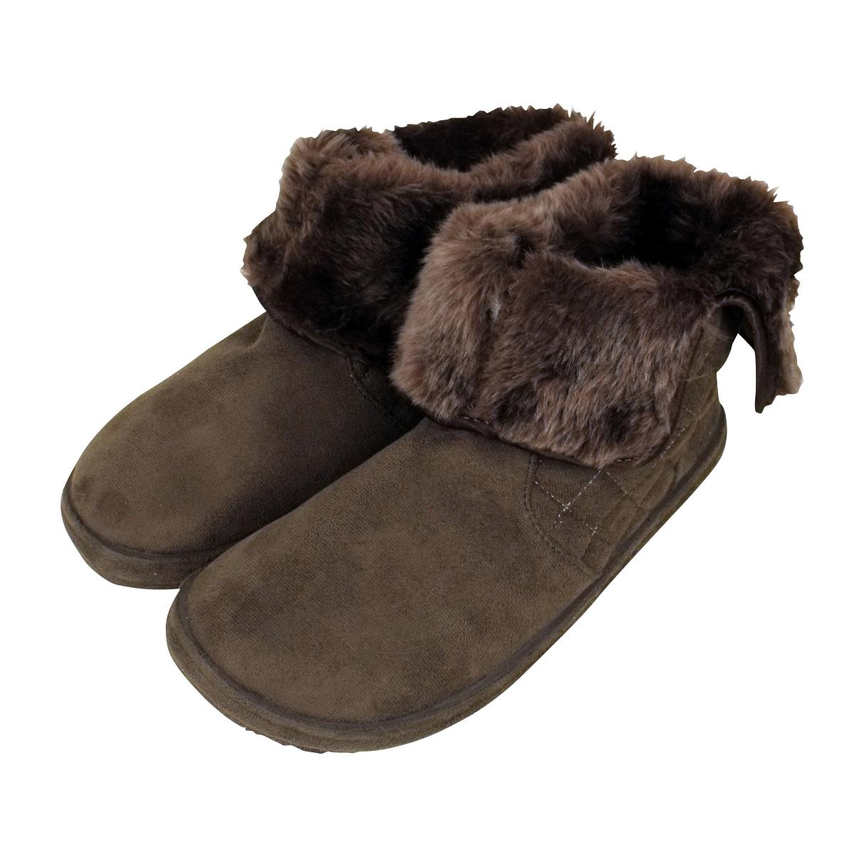 slippers womens faux suede ankle boot quilted bootee