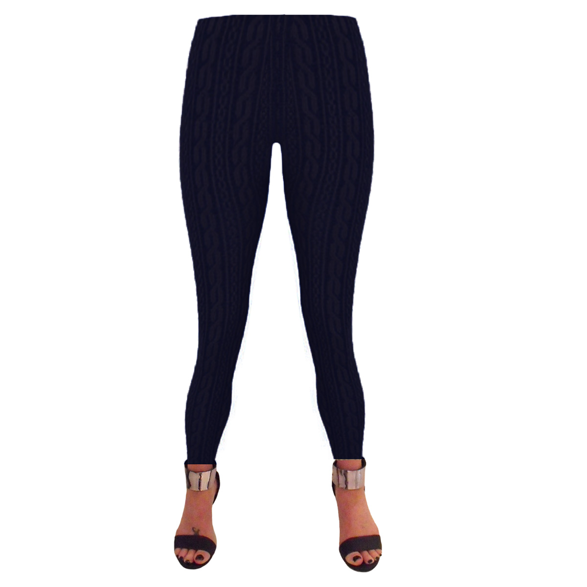 Ladies-Womens-Thick-Black-Navy-Ribbed-Winter-Fleece-Lined-Leggings