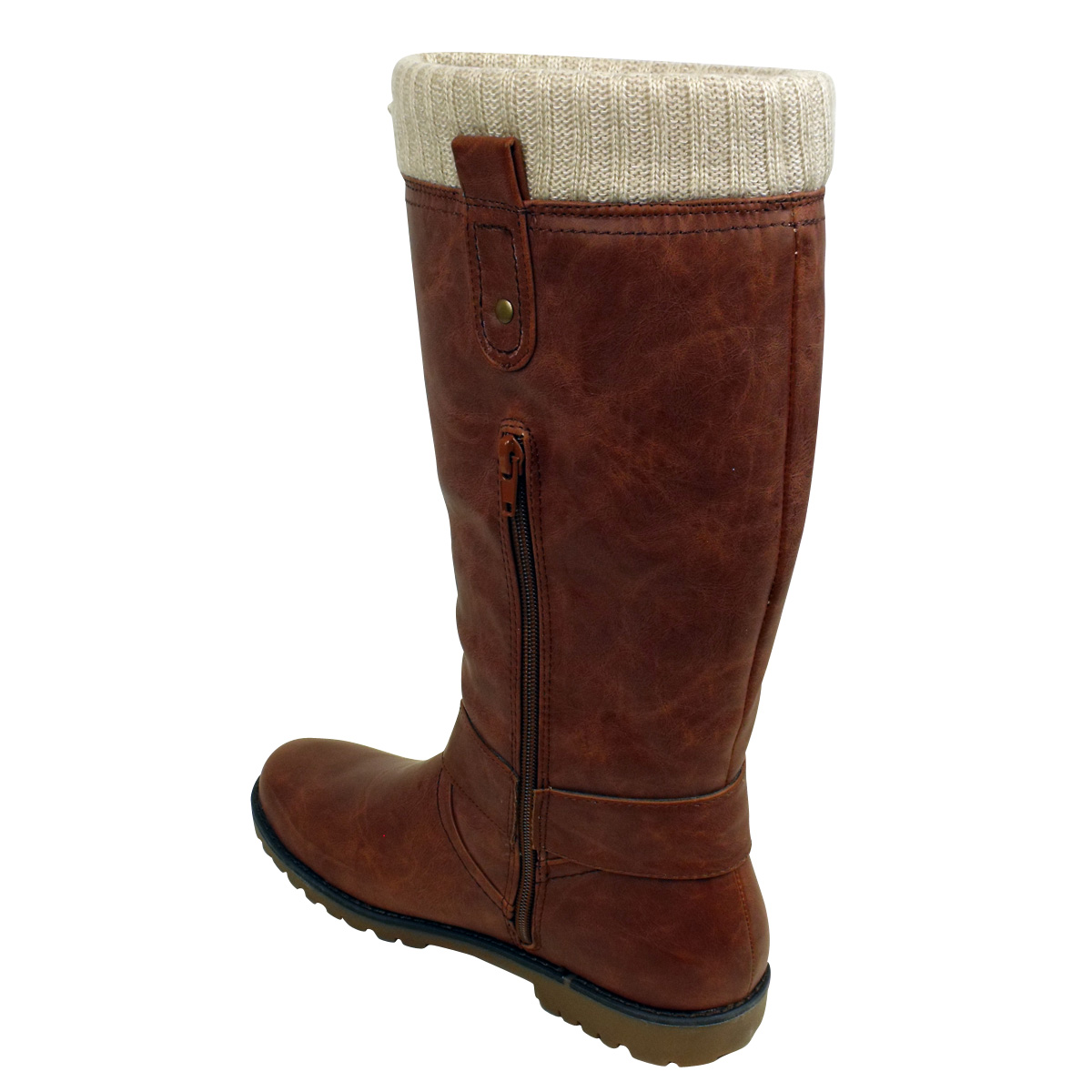 womens brown faux leather knitted collar biker boots