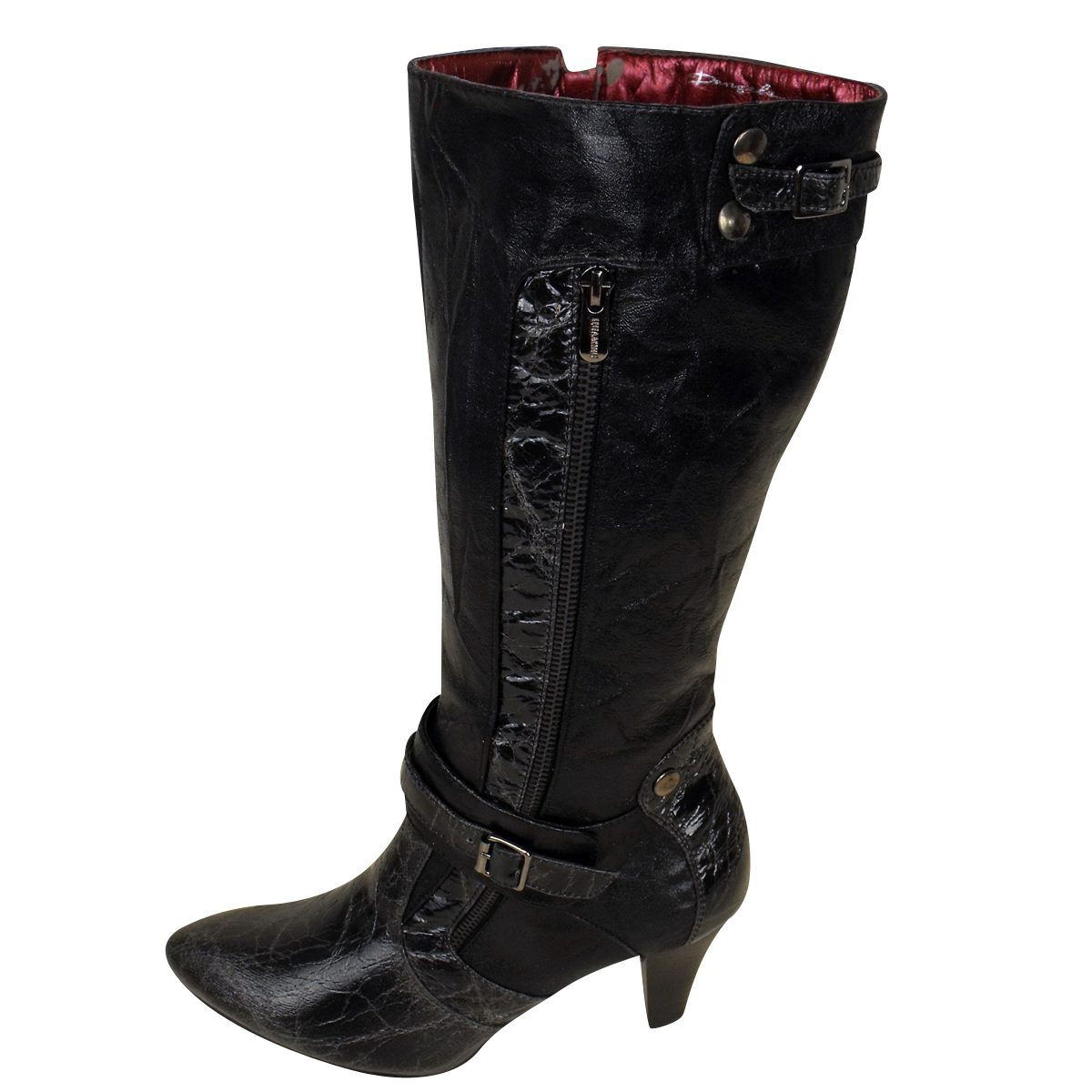 Womens Faux Leather Mid Calf Designer Boots Ladies Heel Boot Various Designs | EBay