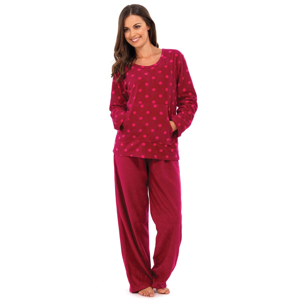 Ladies Womens Long Sleeve Polka Dot Fleece PJ Pyjamas Sets ...