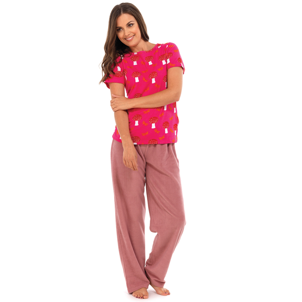 fleece pyjama set damen frauen nacht bekleidung eu 40 42 44 46 ebay. Black Bedroom Furniture Sets. Home Design Ideas