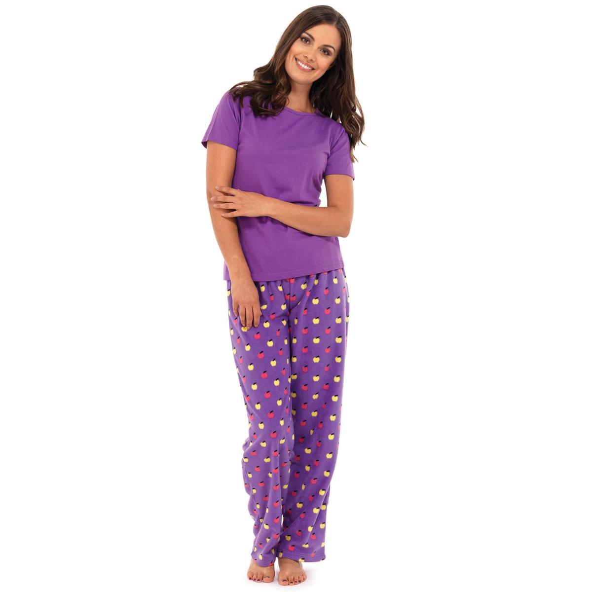 ladies womens pj fleece pyjamas sets night wear mushrooms. Black Bedroom Furniture Sets. Home Design Ideas