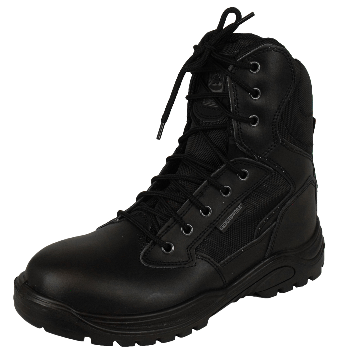 Mens Leather Combat Tactical Safety Ankle Boots Security Military Police Boot | EBay