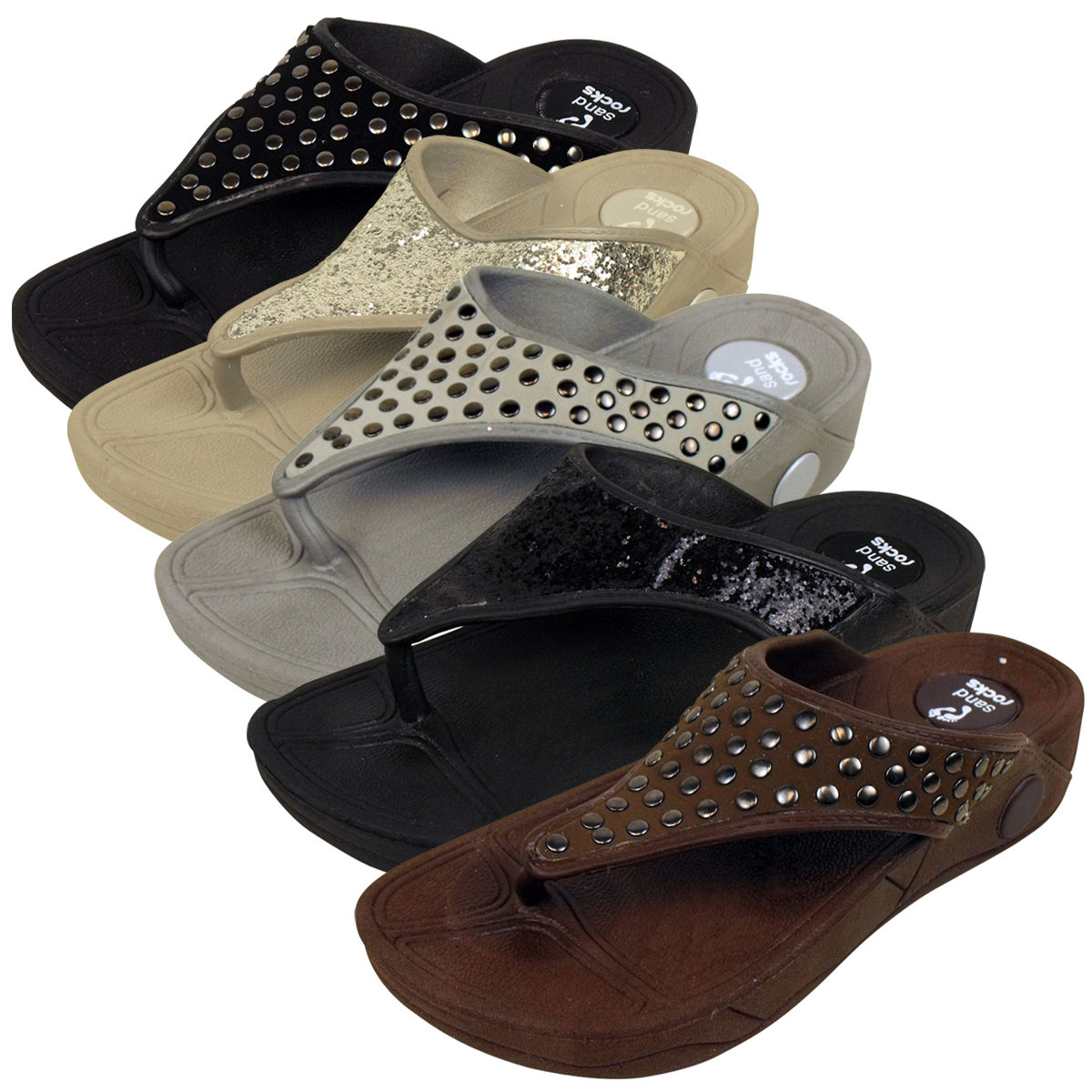 Womens Toe Post Keep Fit Workout Sandal Flip Flop Wedge ...
