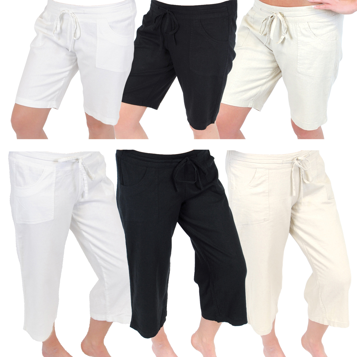 Awesome Summer Womens Medium Length Pants Soft Cotton Cargo Shorts Relax Fit