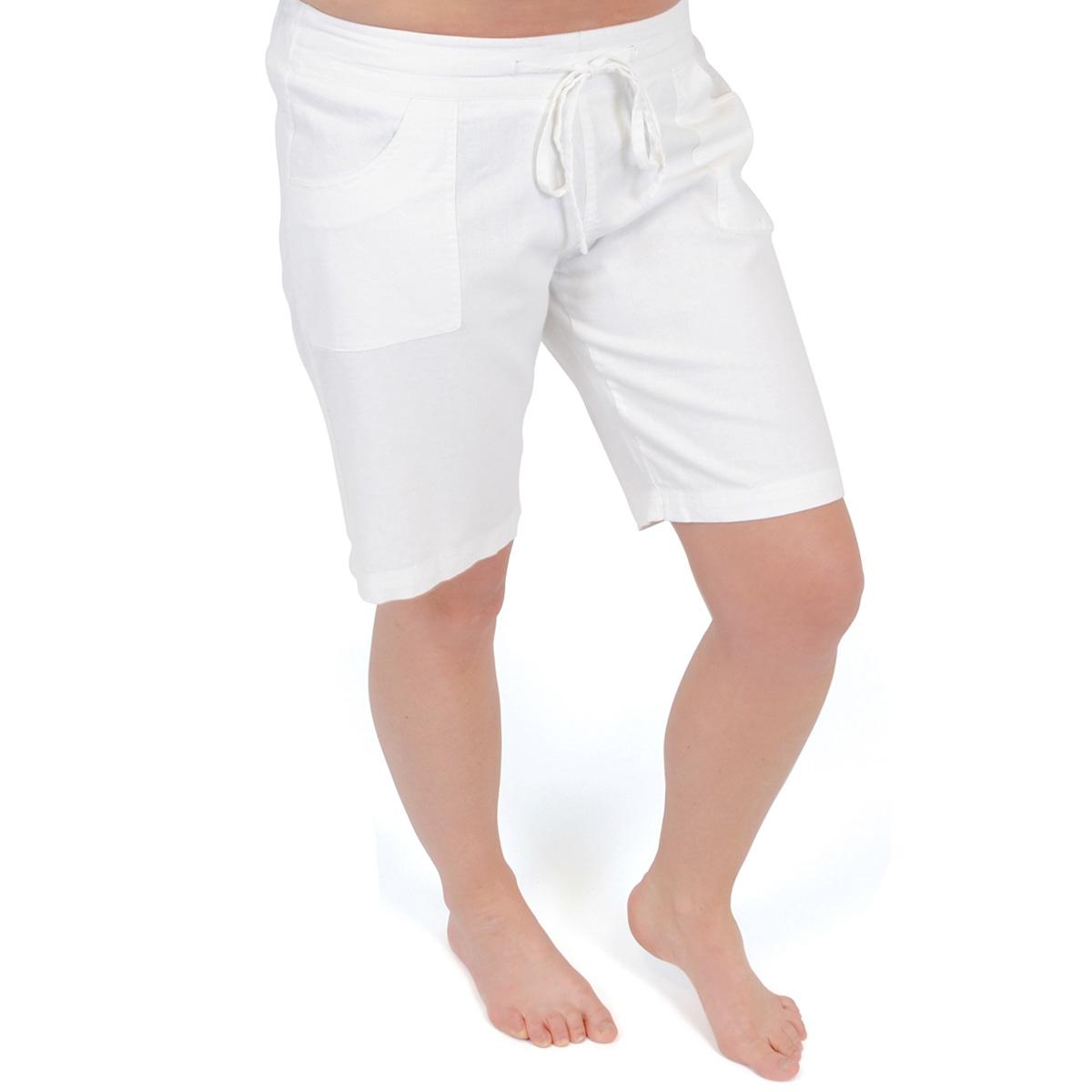 Womens Linen Shorts 3/4 Length Trousers Shorts Ladies ...