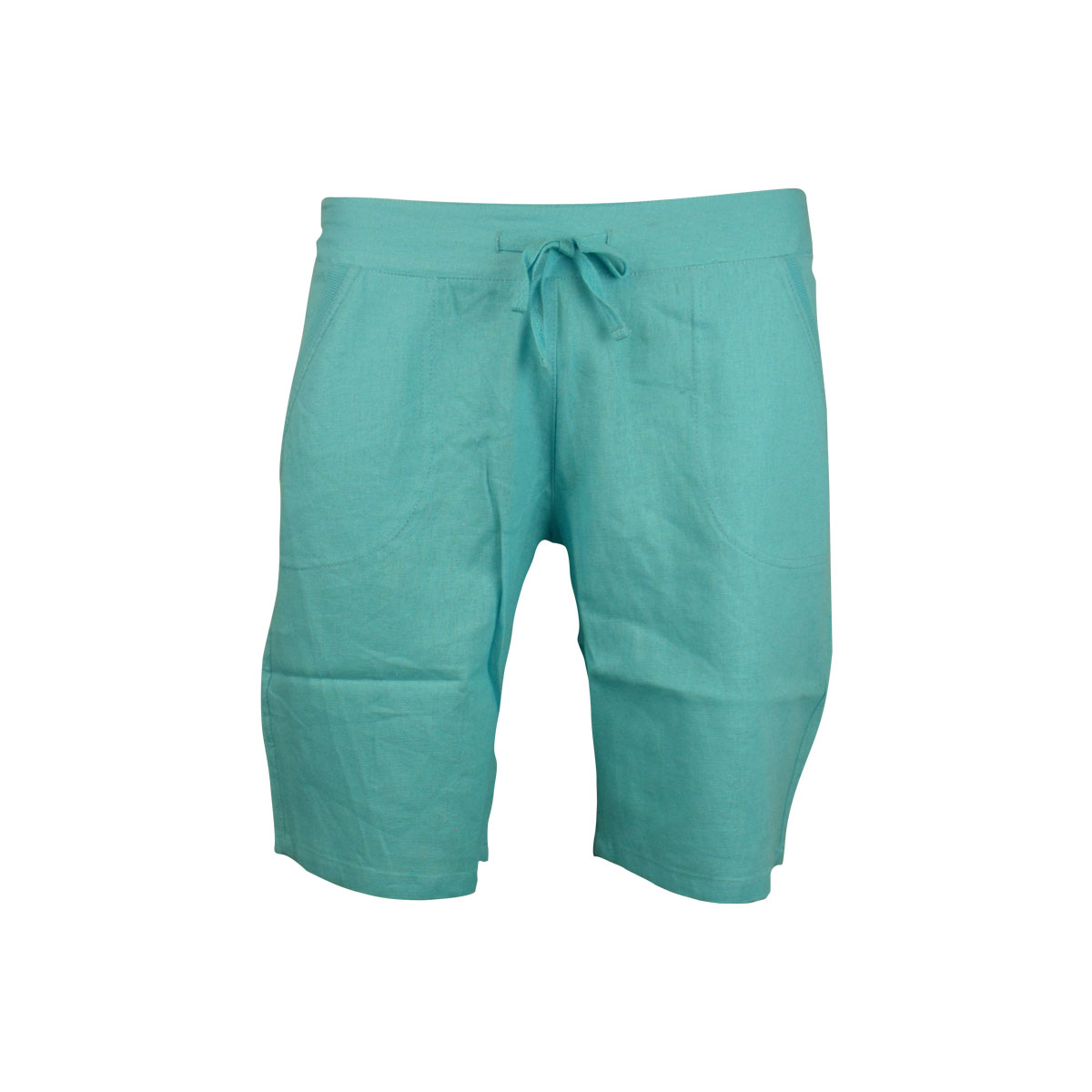 Womens Linen Shorts 3/4 Length Trousers Shorts Ladies Casual Knee ...