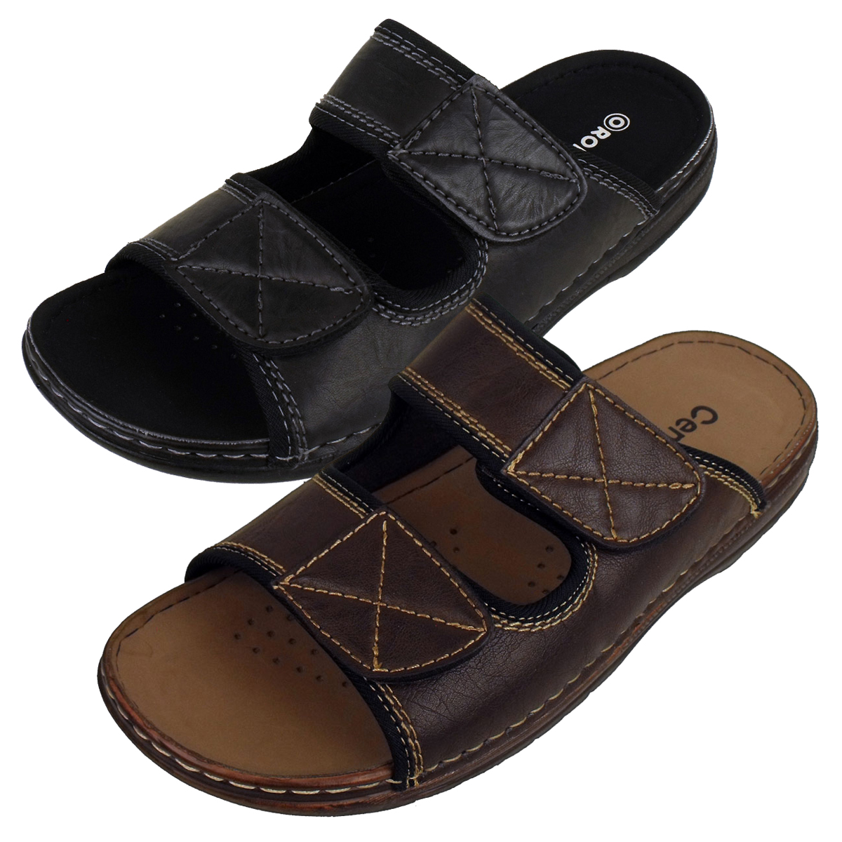Mens-Mules-Sandals-Faux-Leather-Smart-Slip-On-Velcro-Sandal-Beach