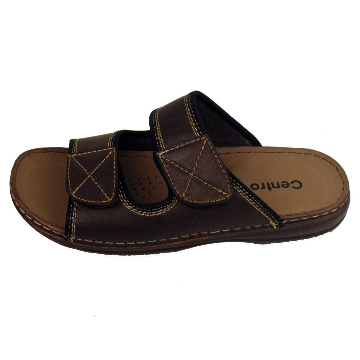Mens Mules Sandals Faux Leather Smart Slip On Velcro