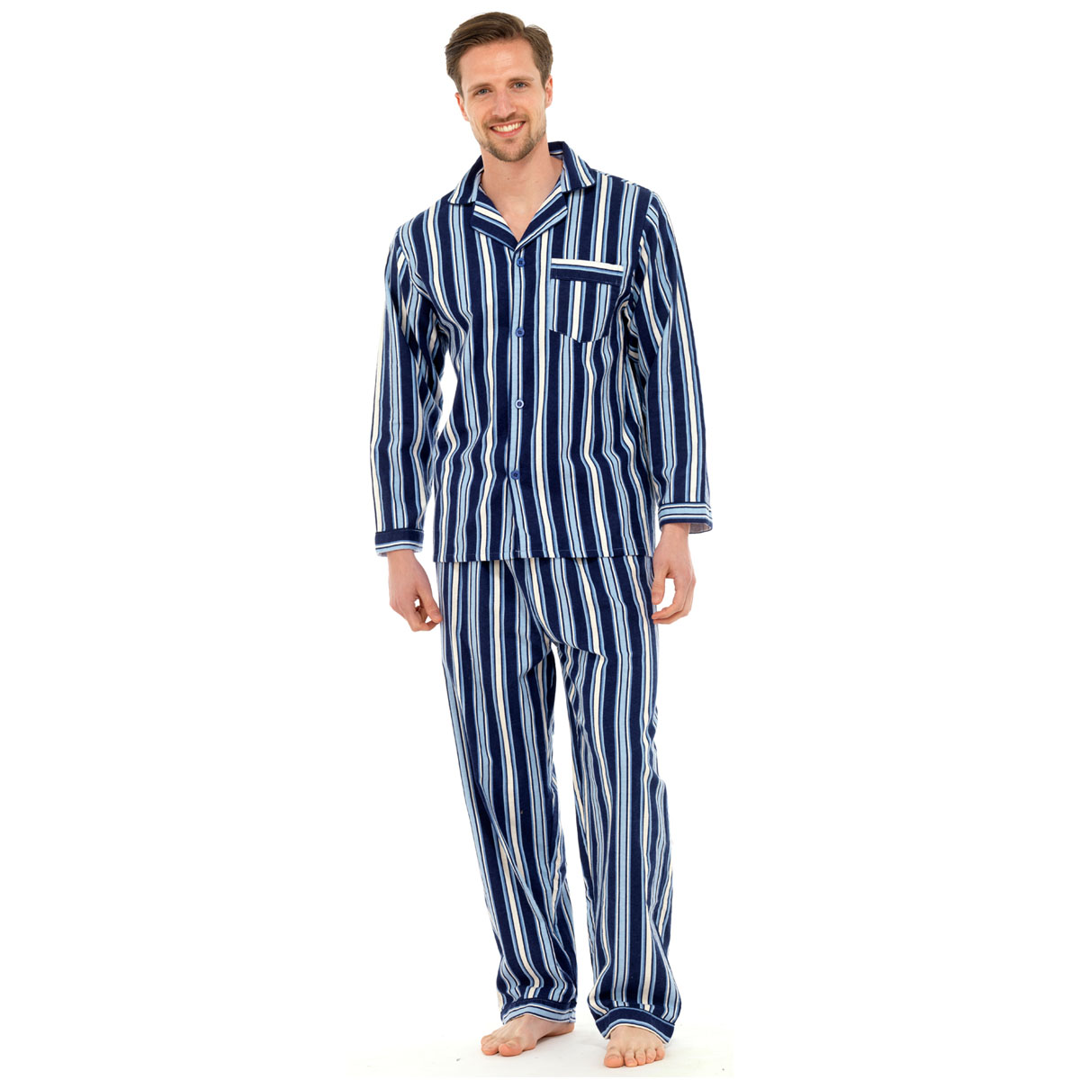 Mens Traditional Flannel Pj Pyjama Set Night Wear Pj S