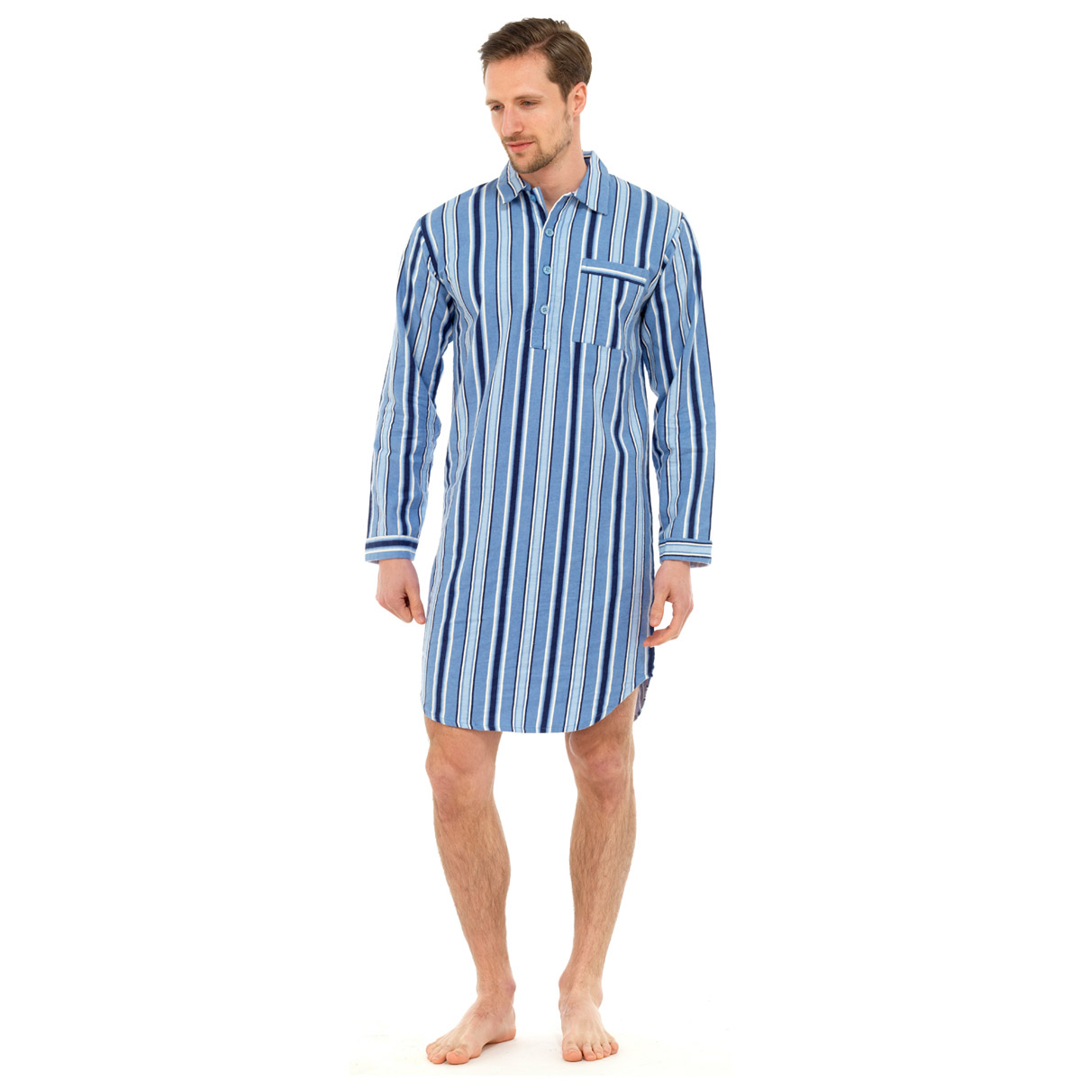 Mens Traditional Nightshirt Flannel PJ Pyjama Night Shirt ...