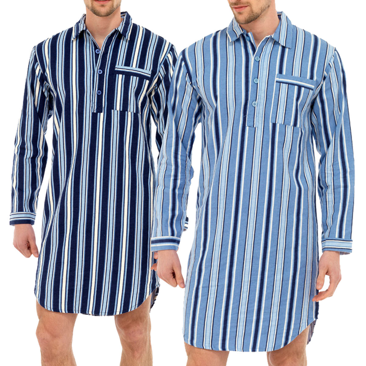 Mens traditional nightshirt flannel pj pyjama night shirt for Womens flannel night shirts