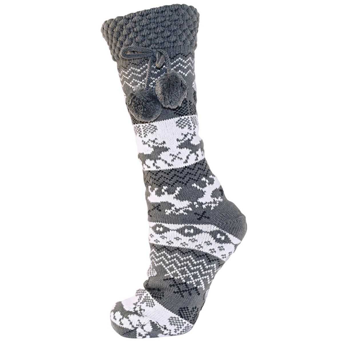 Womens Sherpa Ankle Boot Slipper Socks Knitted Furry Warm Slippers Chunky Sock | EBay