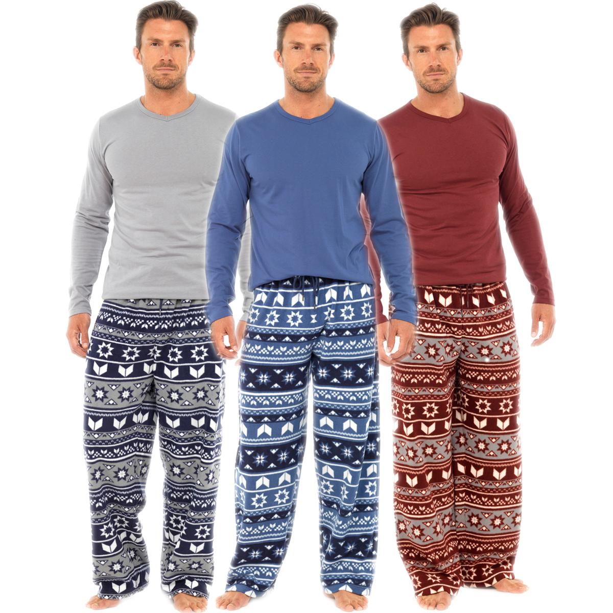 Mens Warm Fleece Winter PJ Pyjama Set Night Wear PJ's Pyjamas ...