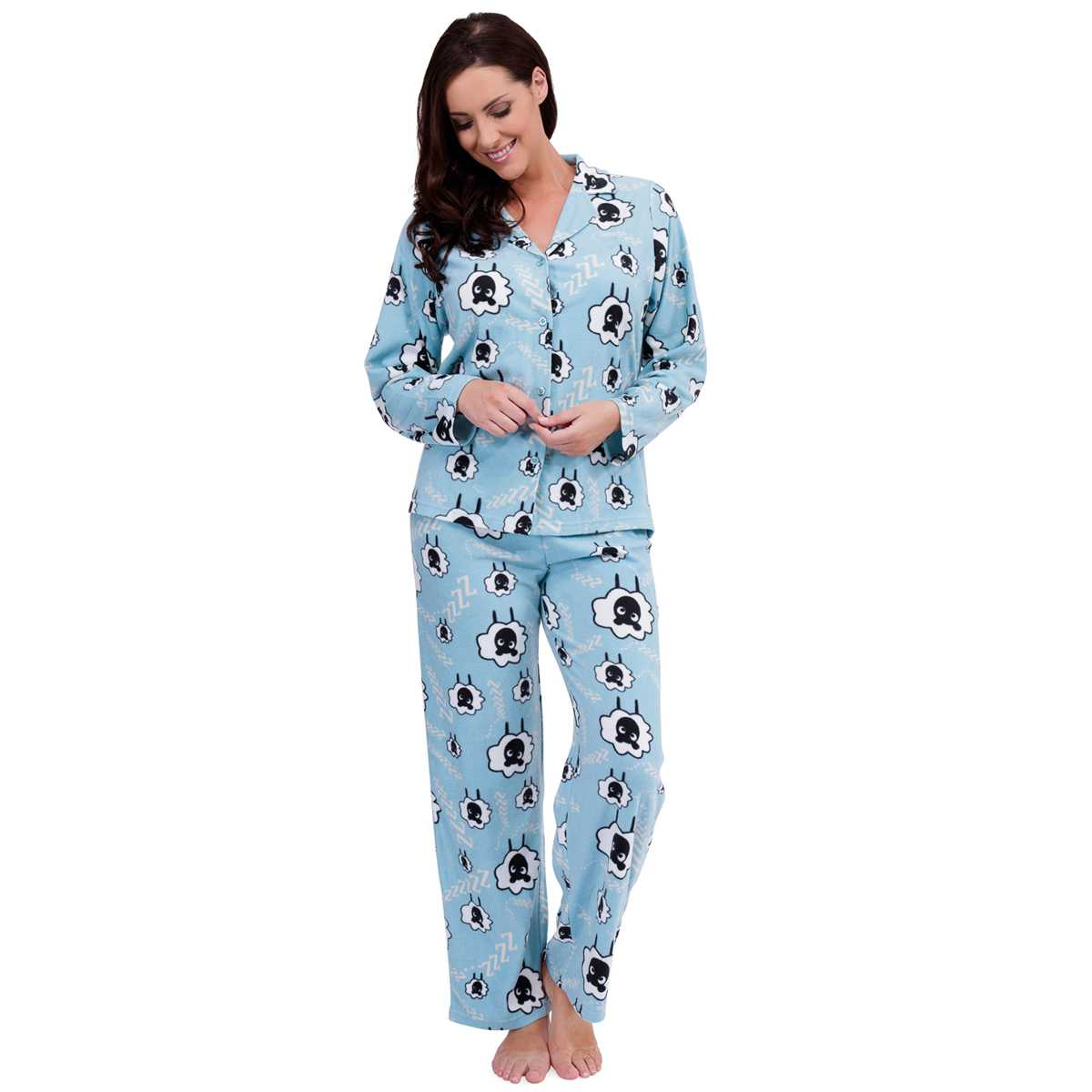 If you love sleeping bundled up, look at women's short sleeve pajama sets in silk and satin. For chilly weather, browse long sleeve flannel styles so you can stay cozy. Try a set or mix-and-match pajama tops and bottoms to create a cute and cozy style of your own.