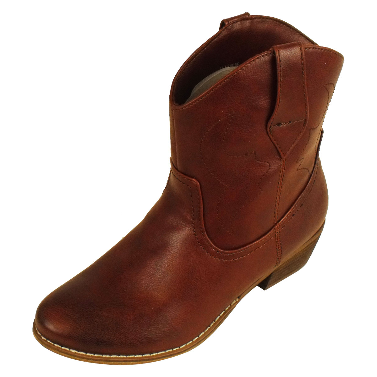 new cowboy western boot smart faux leather ankle
