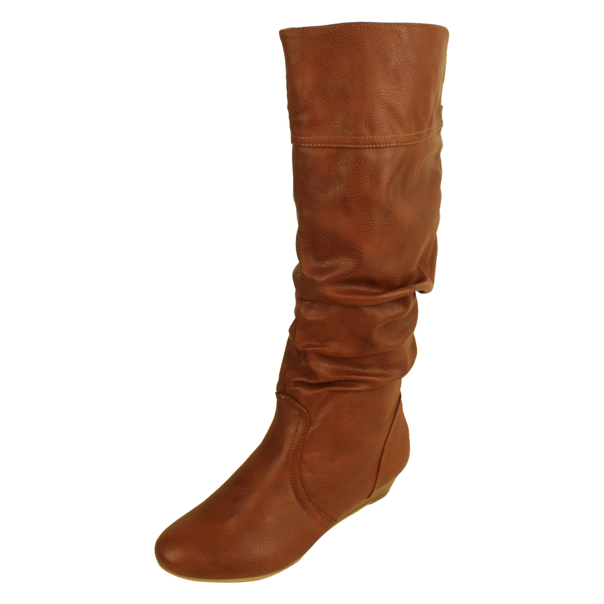 womens faux leather knee high designer boots wedge