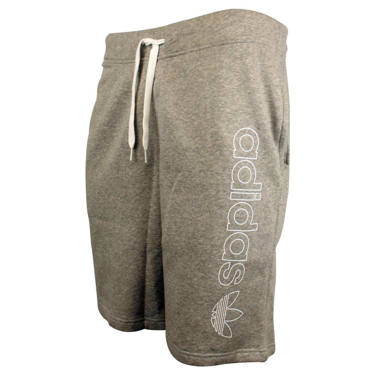 Mens Adidas Long 34 Length Knee Short Summer Fleece Shorts Grey Logo Jogger | eBay