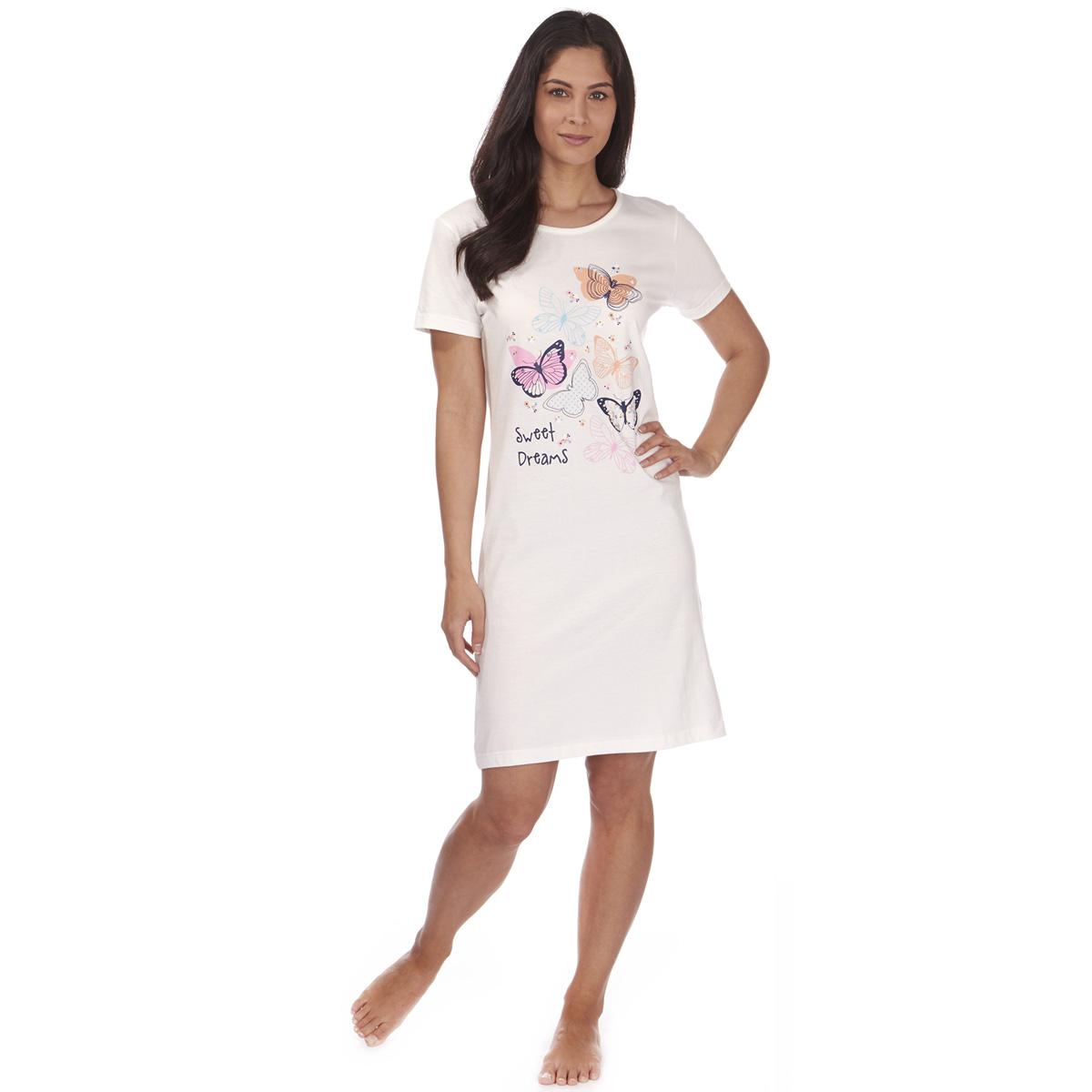This night wear dress for ladies is a one-piece long nightwear for women looks sexy as well as comfortable being on your own. Young girls with a shaped body look cute in such night wears. The most appealing part of one piece night wear is that the above knee length lets your legs open and bring out all girly feelings in your room.