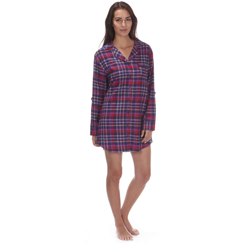 Womens traditional nightshirt flannel pj pyjama night for Womens flannel night shirts