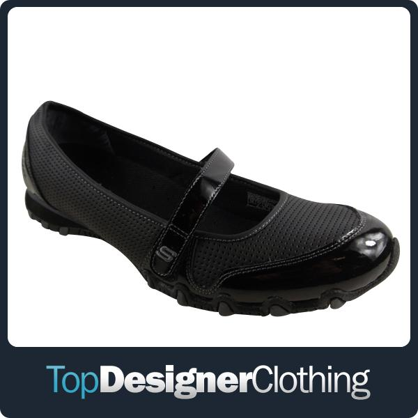 Ladies-Skechers-Bikers-Melody-Black-Leather-Shoes-Velcro-Trainers-Womens-UK-2-7