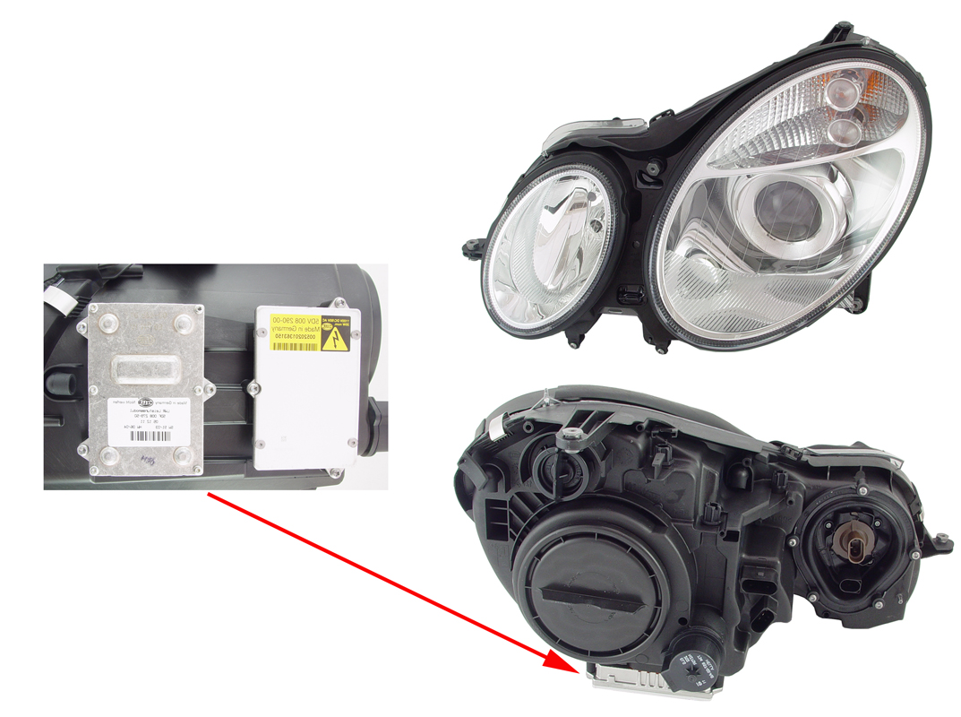 How to change xenon bulb mercedes w211 for Mercedes benz headlight bulb