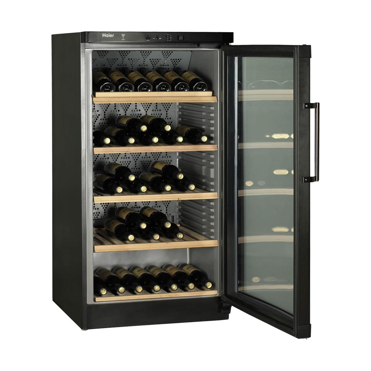 haier jc 298g black freestanding 120 bottle wine cooler. Black Bedroom Furniture Sets. Home Design Ideas