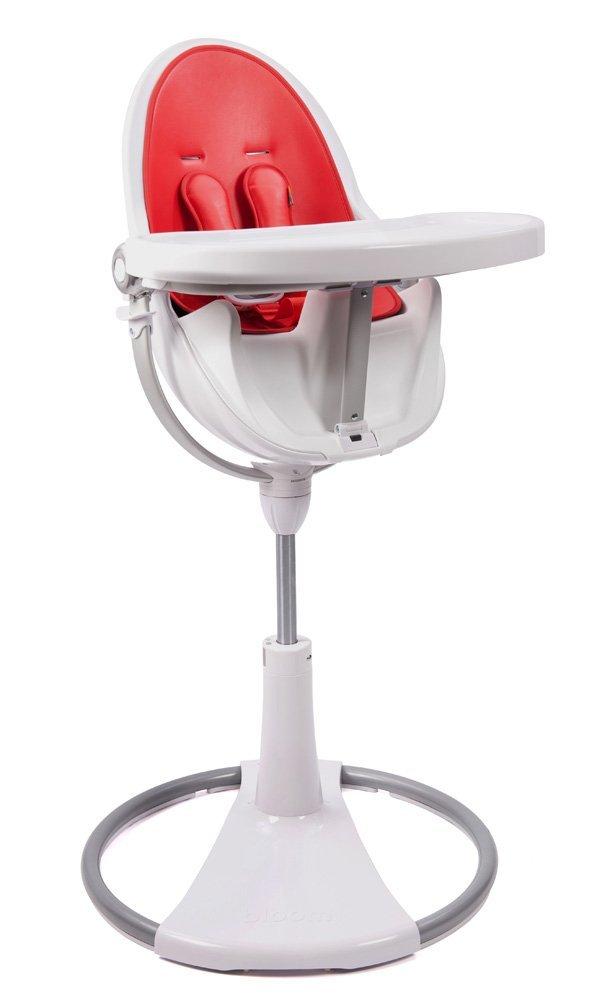 Bloom Fresco Chrome Contemporary High Chair White Red Insert Rigid