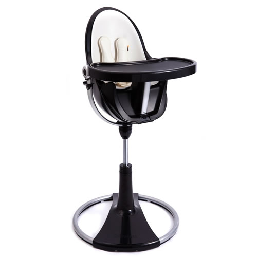 New Bloom Fresco Chrome Contemporary High Chair Black/Coconut White - 360 Swivel Enlarged Preview