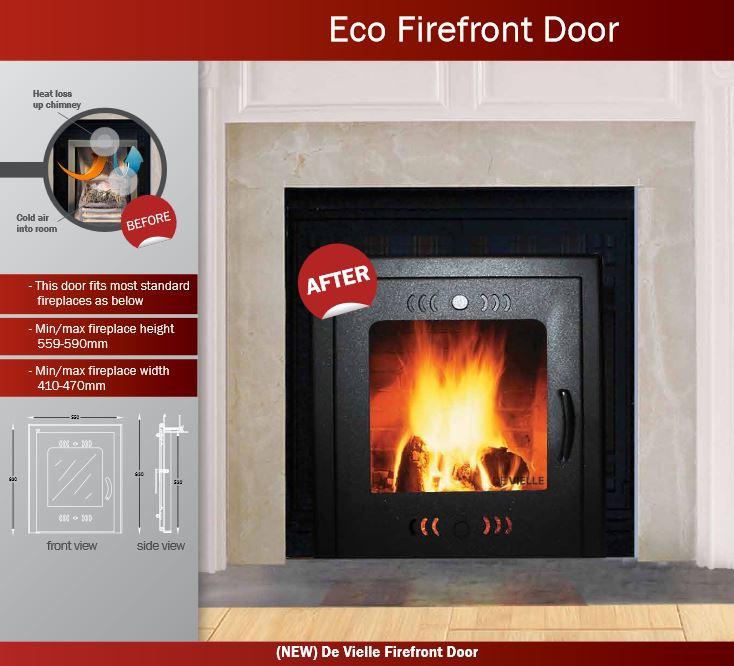 De Vielle DEF979903 Eco Fire Front Door Solid Fuel Saver 16\