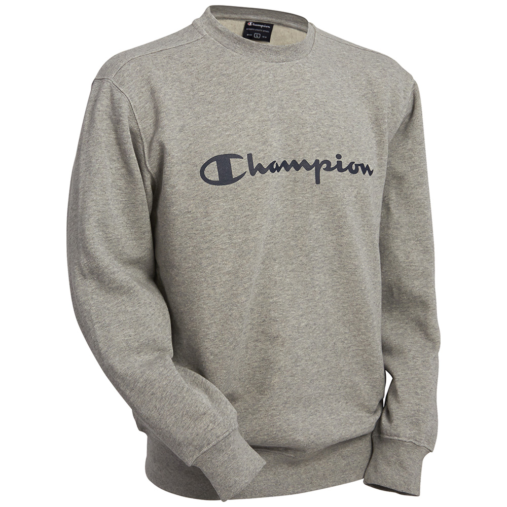 Champion Mens Combed Cotton Fleece Crewneck Long Sleeve Sweatshirt ...