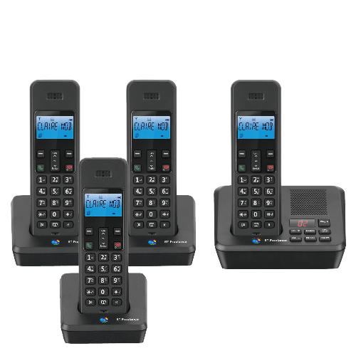 BT FREELANCE XB2500 QUAD DIGITAL CORDLESS REDIAL RECORDING ANSWER PHONE GAP