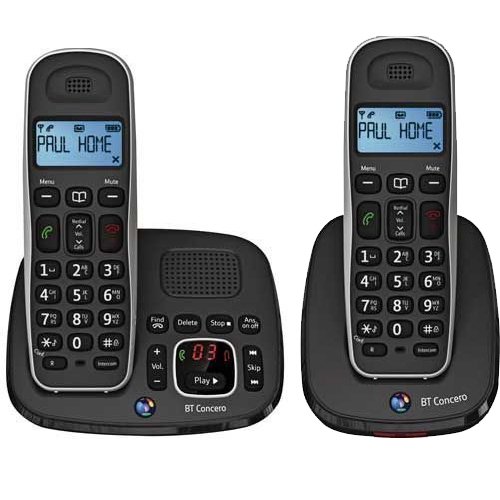 BT CONCERO 1500 TWIN DIGITAL CORDLESS PHONE WITH ANSWER MACHINE