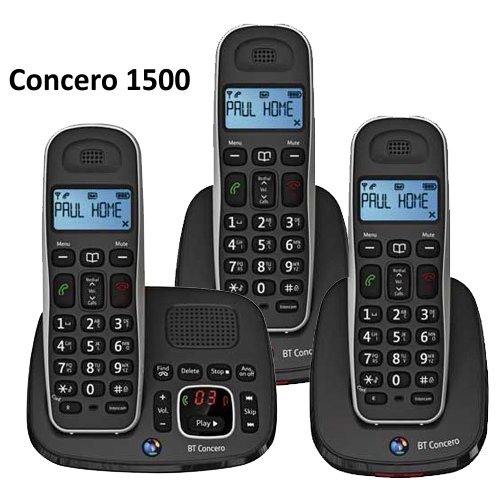 BT CONCERO 1500 TRIO DIGITAL CORDLESS PHONE WITH ANSWER MACHINE