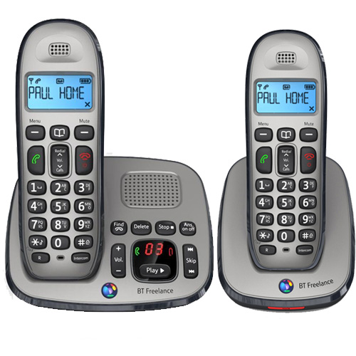 BT FREELANCE XD8500 TWIN DIGITAL CORDLESS ANSWERPHONE WITH 25 MINUTE RECORDING T